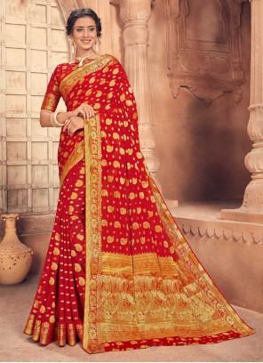 Red Fancy Traditional Designer Saree