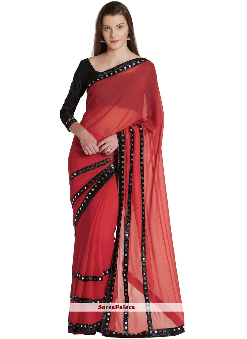 Red Faux Chiffon Party Classic Saree