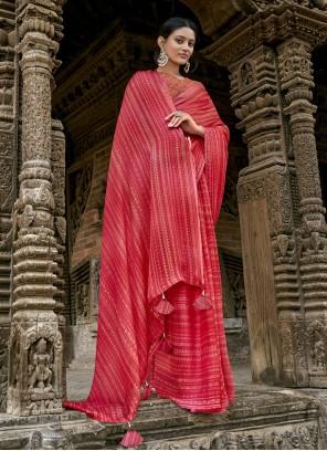Red Faux Chiffon Printed Bollywood Saree