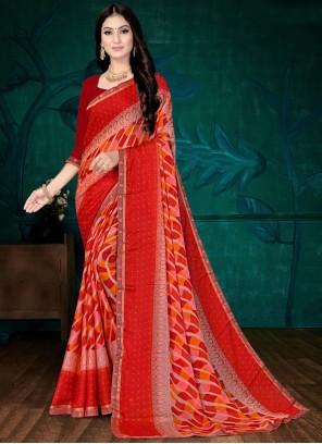 Red Faux Chiffon Printed Saree