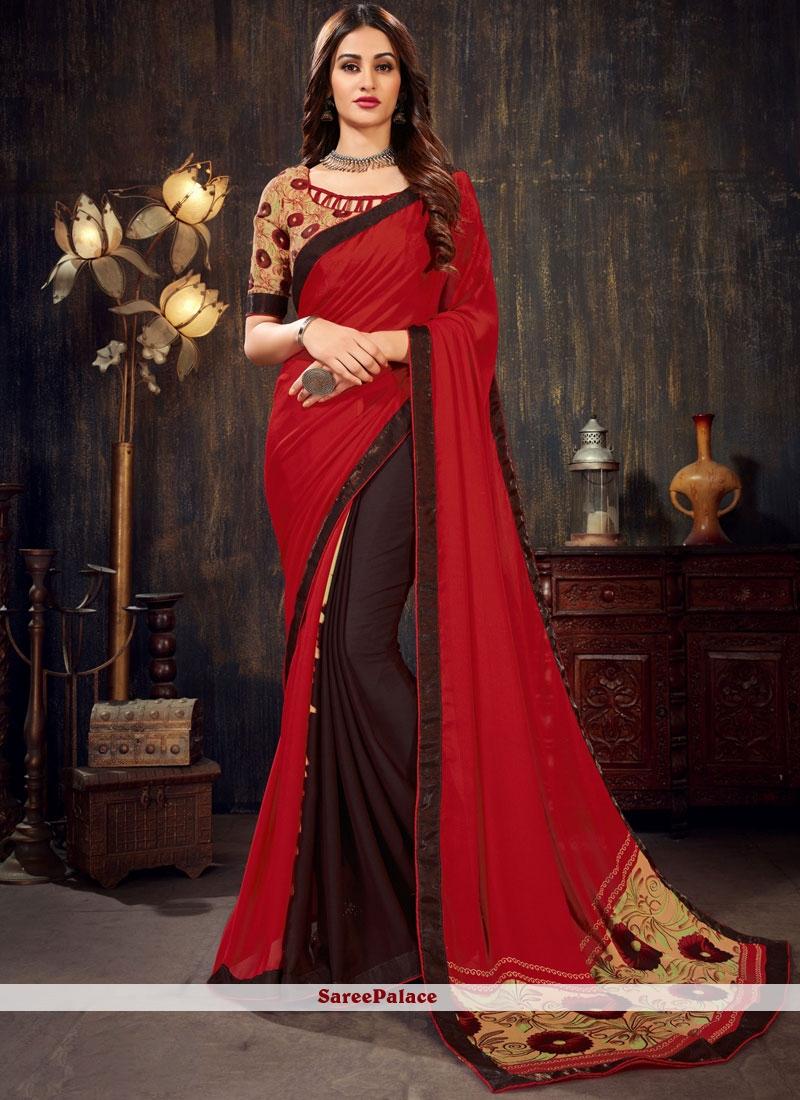 Red Faux Chiffon Trendy Saree
