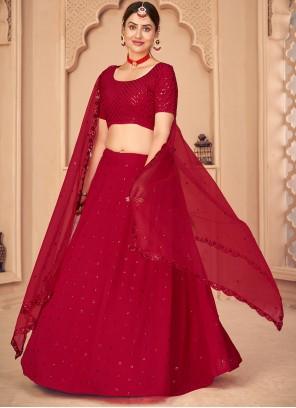 Red Faux Georgette Embroidered Lehenga Choli