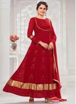 Red Faux Georgette Festival Floor Length Anarkali Suit