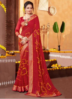 Red Faux Georgette Festival Printed Saree