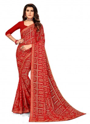 Red Faux Georgette Printed Saree