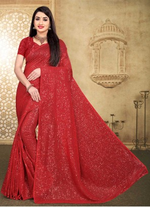 Red Faux Georgette Sequins Classic Saree