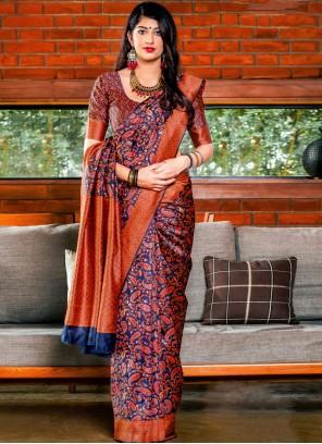 Red Festival Banarasi Silk Designer Saree