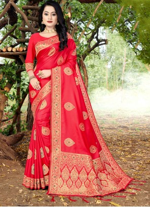 Red Festival Banarasi Silk Traditional Designer Saree