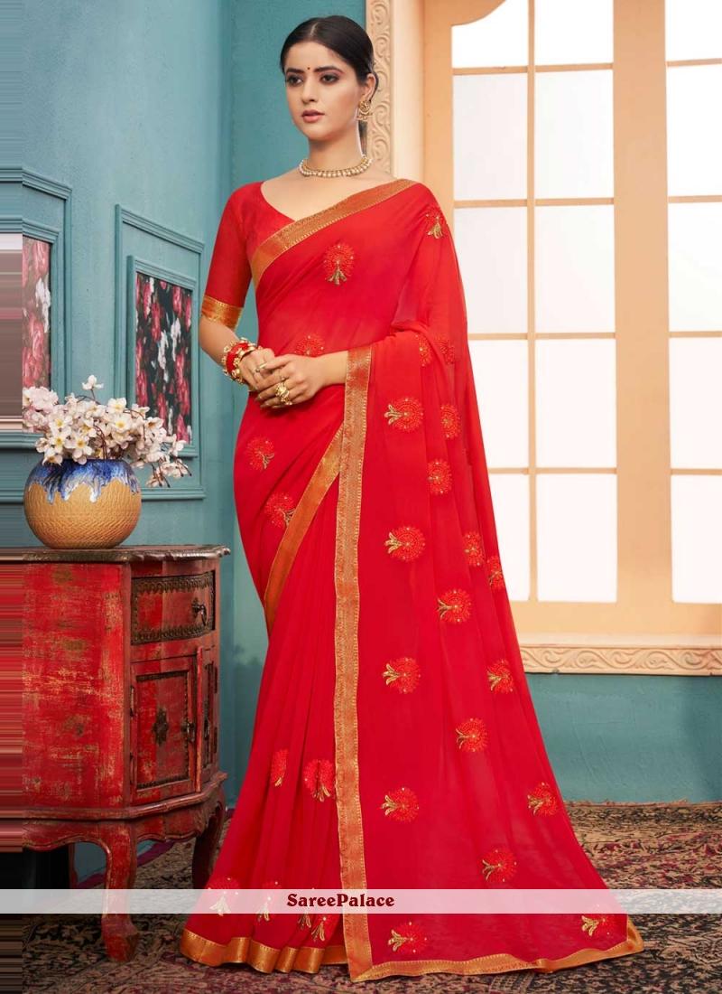 Red Festival Classic Designer Saree
