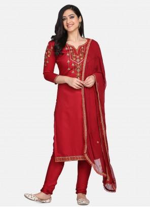 Red Festival Cotton Designer Straight Suit