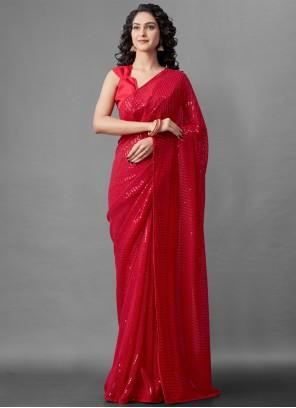 Red Sequins Festival Designer Saree