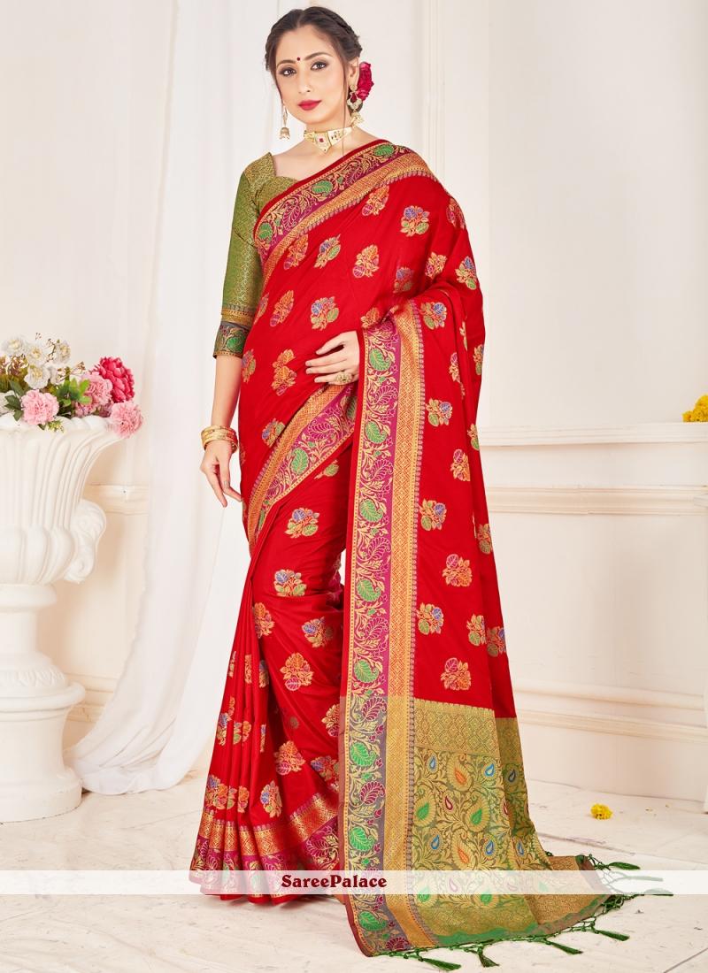Red Festival Designer Traditional Saree