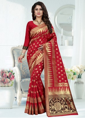Red Banarasi Silk Traditional Saree
