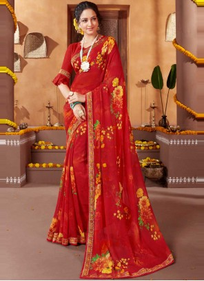 Red Festival Faux Georgette Printed Saree