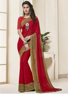 Red Festival Georgette Saree
