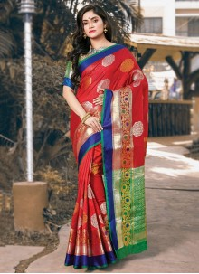 Red Festival Handloom silk Trendy Saree