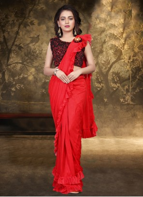 Red Festival Lycra Trendy Saree