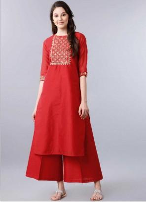 Red Festival Party Wear Kurti