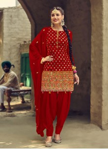 Red Festival Patiala Suit