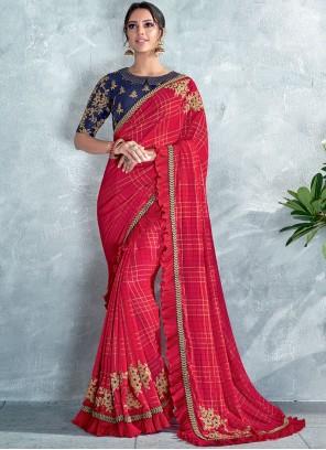 Red Festival Silk Classic Designer Saree