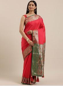 Red Festival Silk Designer Saree