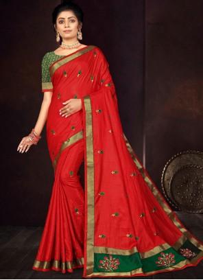 Red Vichitra silk Festival Traditional Saree