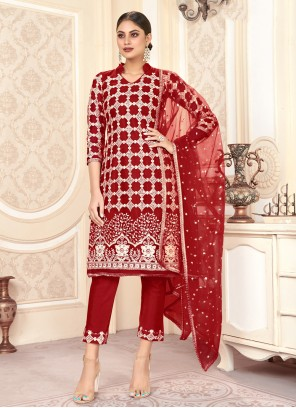 Red Festival Trendy Salwar Kameez