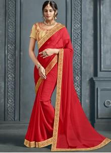 Red Festival Trendy Saree