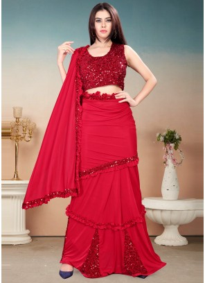 Red Sequins Work Festival Trendy Saree