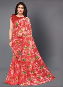 Red Floral Print Contemporary Style Saree