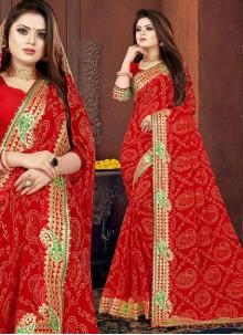 Red Georgette Bandhani Saree