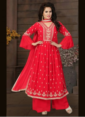 Red Georgette Engagement Readymade Suit