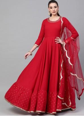Red Georgette Floor Length Trendy Gown