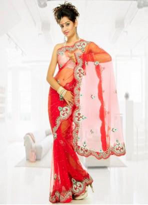 Red Georgette Handwork Designer Saree