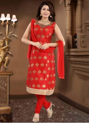 Red Handwork Churidar Salwar Suit
