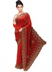 Red Handwork Designer Traditional Saree