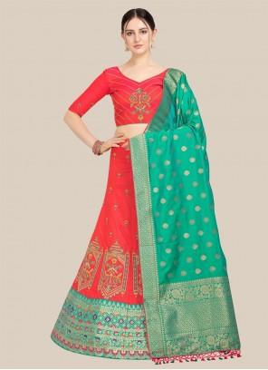 Red Jacquard Embroidered Lehenga Choli