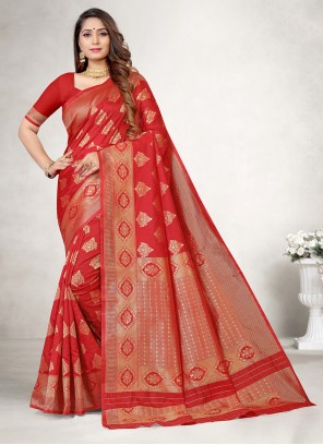Red Jacquard Silk Casual Saree
