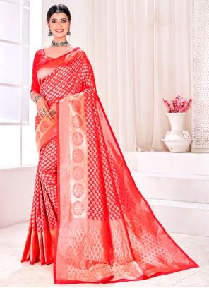 Red Jacquard Silk Fancy Designer Traditional Saree