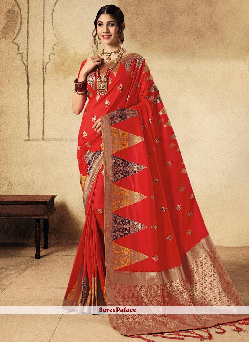 Red Jacquard Silk Wedding Classic Saree