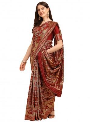 Red Jacquard Work Cotton Trendy Saree