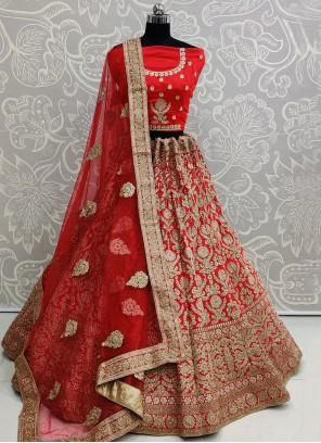 Red Lace Lehenga Choli