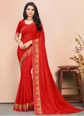 Red Lace Silk Classic Saree