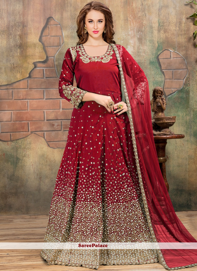 Red Lace Work Floor Length Anarkali Suit