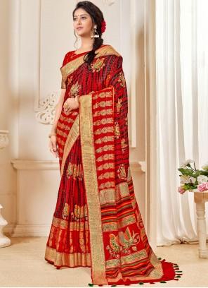 Red Linen Classic Designer Saree