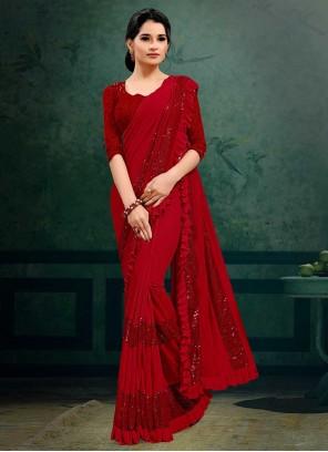 Red Lycra Sequins Trendy Saree