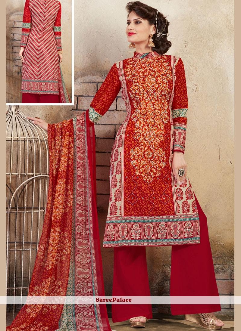 Red Mehndi Cotton Palazzo Salwar Kameez