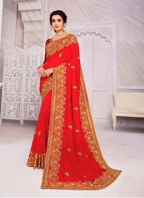Red Mehndi Designer Saree