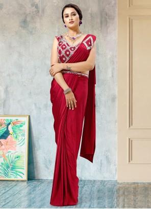 Red Fancy Work Lycra Mehndi Designer Saree