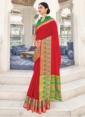 Red Mehndi Khadi Silk Weaving Zari Saree